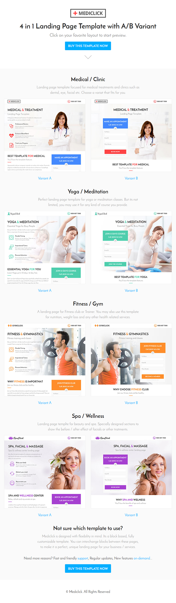 Mediclick - Medical Landing Page WordPress Theme